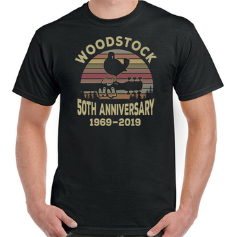 Mens Woodstock 1969-2019 Anniversary T-Shirt Music Festival Hippie Glastonbury DIY Prited tee shirt