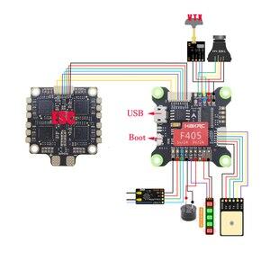 Image 4 - Controlador de voo integrado do zangão f405 v3 de corrida de hakrc osd 5 v 9v duplo bec 50a 4 em 1 flytower esc