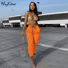 Hugcitar high waist pocket patchwork cargo pants autumn winter women streetwear club streetwear trousers цена