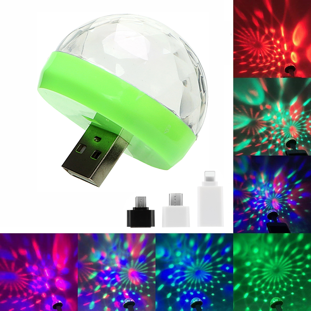 Portable Mini USB LED Atmosphere Light Stage Magic DJ Disco Ball Lamp Indoor Home Party USB To Apple