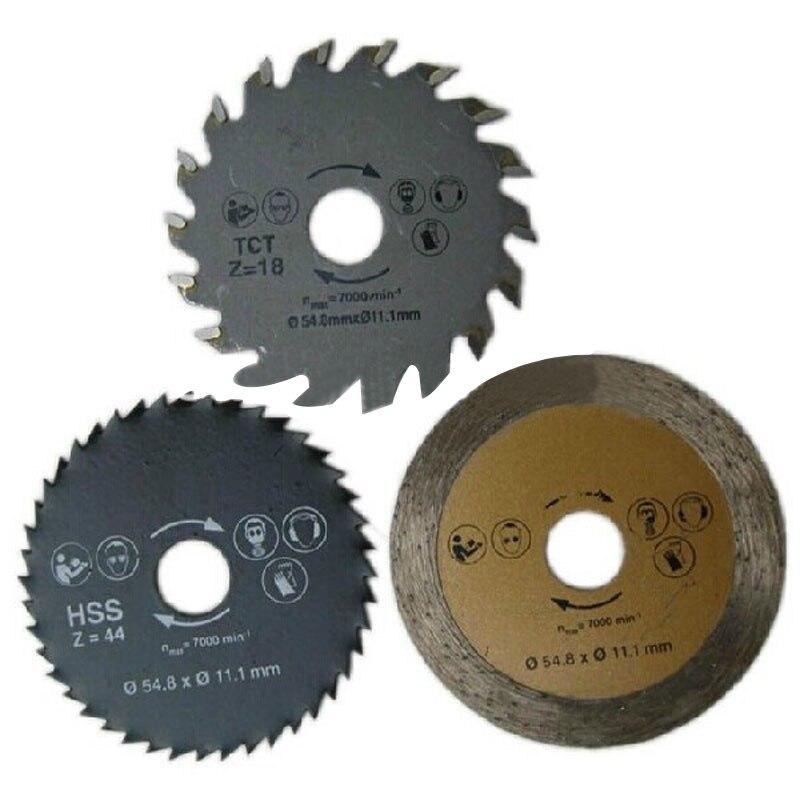 3pcs/set Mini Circular Saw Blade Diamond Cutting Disc Accessories Set TCT HSS Saw Blade For Wood Metal Tile Cutting Disk