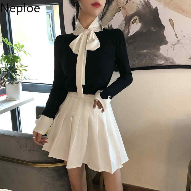 Neploe 2020 coreano primavera feminino fino camisola roupas de inverno malha jumper rendas até manga longa elegante pulôver pull femme 90400