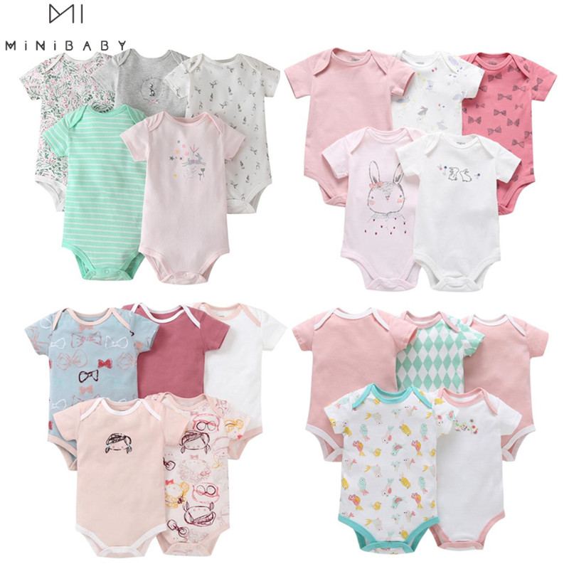 5pcs/pack Baby Bodysuits Girls Newborn Clothing Baby Girls Cute Pattern Cotton Short Sleeve Comfortable 2020 Baby Custom Clothes