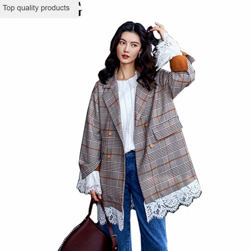 2020 Korean Plaid Blazer Female Double Breasted Women's Suit Lace Spring Jackets And Blazers For Women Blaser Feminino YQ217