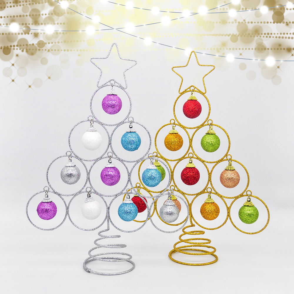 Artificial Iron Christmas Tree Flash Ball Tower Tree Desktop Top Star Decoration Family Wedding Christmas Children New Year Gift