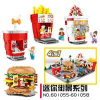 SEMBO Blocks Mini Street Shop Building Bricks Cute Micro Store chips Model hamburger Educational Kids toys Fun Children Gifts