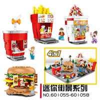 SEMBO blocs Mini magasin de rue briques de construction mignon Micro magasin puces modèle hamburger éducatifs enfants jouets amusants enfants cadeaux
