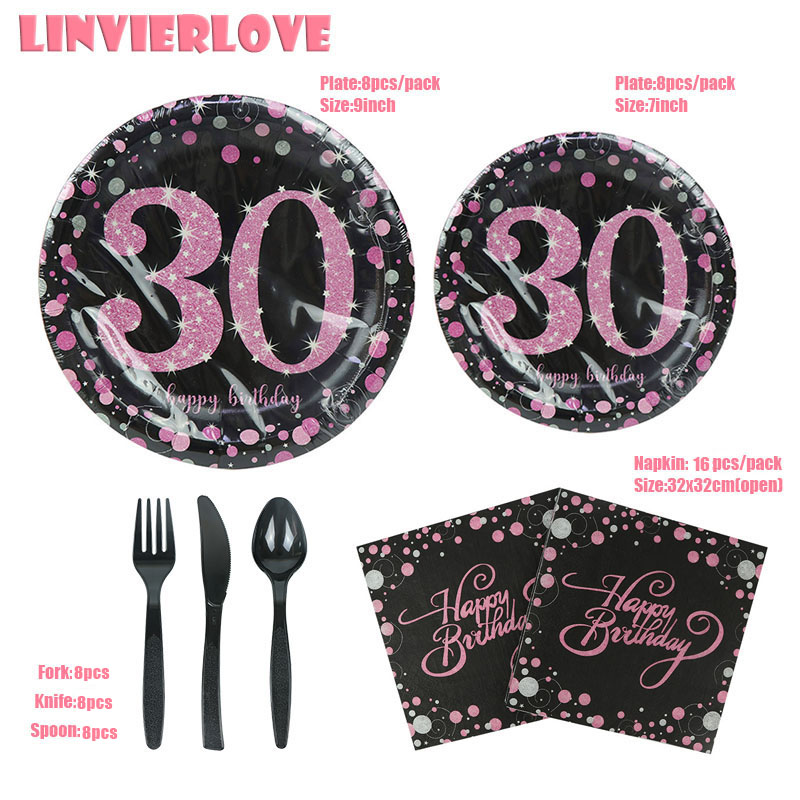 LINVIERLOVE Happy 30th 40th 50th 60th Black Gold Disposable Tableware Set For Birthday Wedding Paper Plate Napkins Party Supplie in Disposable Party Tableware from Home Garden