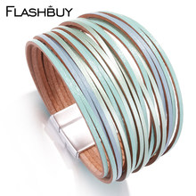 Flashbuy 4 Color Multilayer Leather Bracelets For Women Femme Bohemia Metal Wrap Bracelets Female Jewelry Gift Accessories(China)