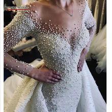 두바이 웨딩 드레스 분리형 기차 2020 신부 드레스와 전체 진주 웨딩 드레스
