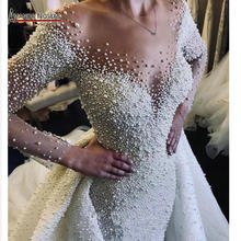 Dubai wedding dress full pearls wedding dress with detachable train 2020 bride dress