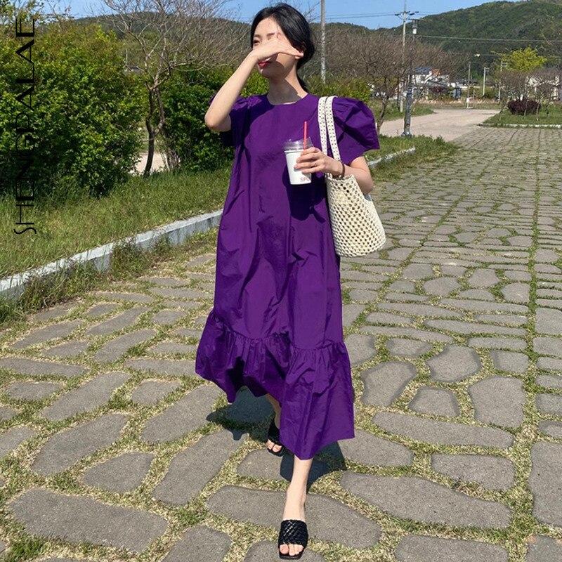 SHENGPALAE 2021 yeni yaz kadın Vintage gevşek yüksek bel ince ince zarif Ruffles büyük salıncak Solice Maxi elbise kadın ZA4500