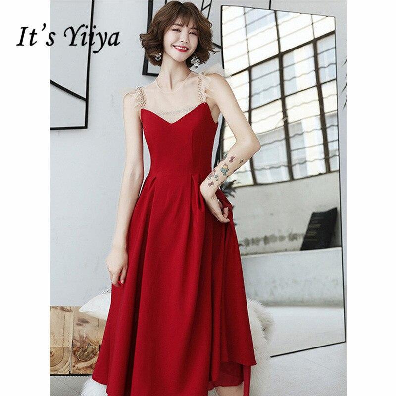 It's Yiiya Prom Dress Plus Size 2019 Burgundy Summer Sleeveless O-Neck Aline Dresses Women Patry Night Vestidos De Gala E1300