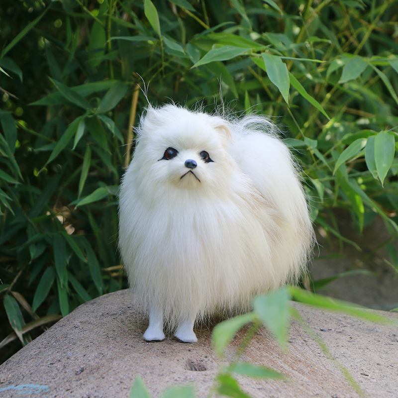 Simulated Cute Pomeranian Dog Photography Props Desktop Car Home Decor Toy Gift
