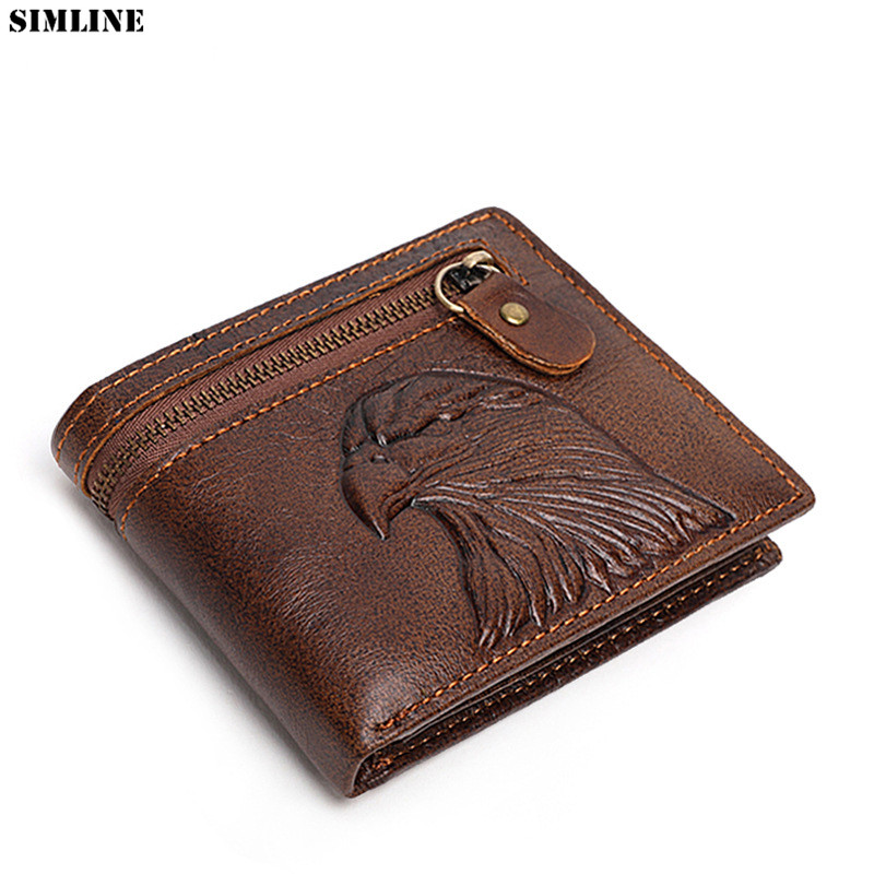 100% Genuine Leather Wallet For Men Male Vintage Real Cowhide Short Wallets Purse With Card Holder Zipper Pocket Mens Carteira