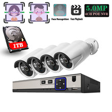 H.265+ 4CH POE System 5.0MP Face capture IP Camera Metal Outdoor Network 3PCS IR LED Array CCTV Security System Surveillance Kit(China)