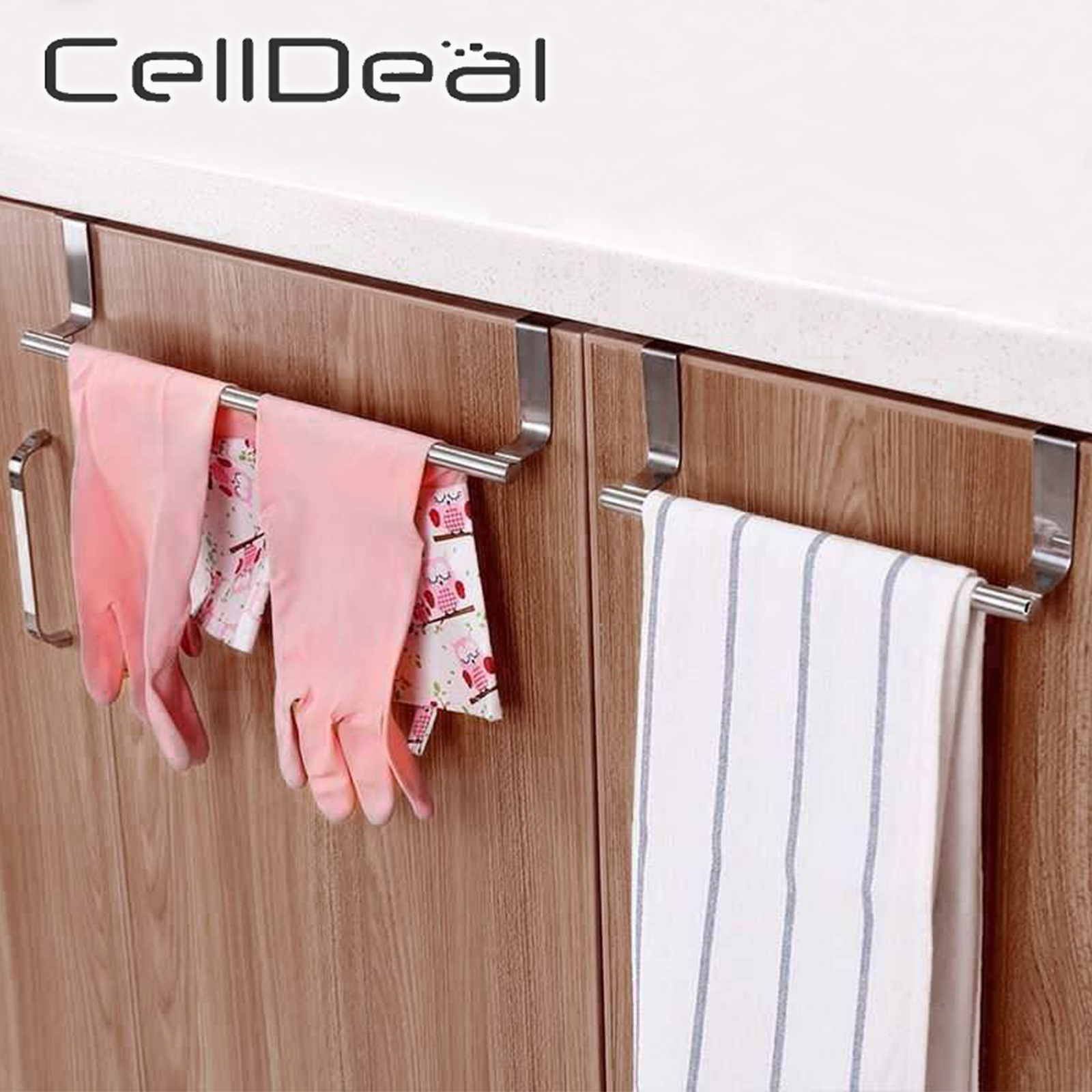 CellDeal Stainless Steel Bathroom Organizer Towel Racks Over Door Towel Rack Hanging Holder Bathroom Kitchen Cabinet Shelf Rack