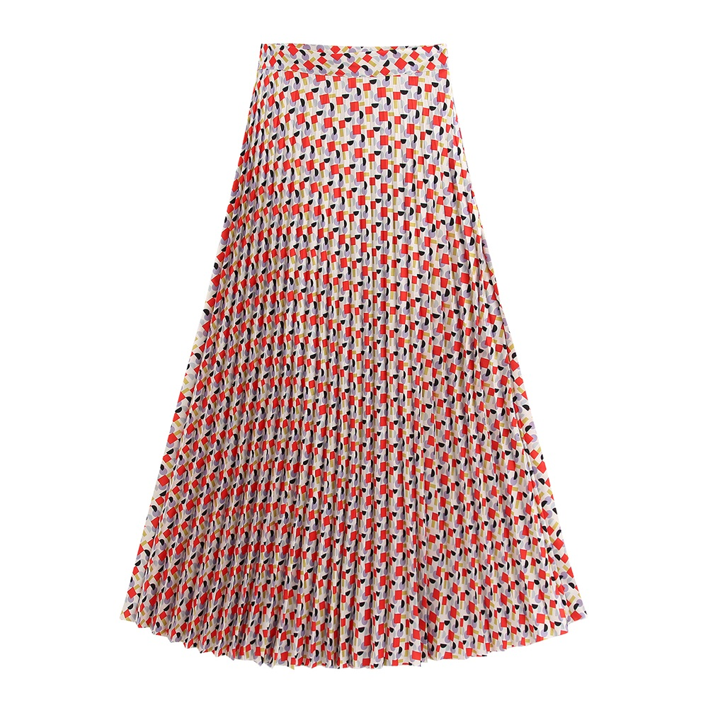 2020 Spring Women's New Fashion Trend Wild Slim Geometric Graphic Printing Retro High Waist Pleated Midi Long Skirt