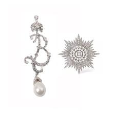 Vintage full rhinestones perla letra broche grande pin novia Cristales de plata corona broche personalidad mujer joyería Accesorios
