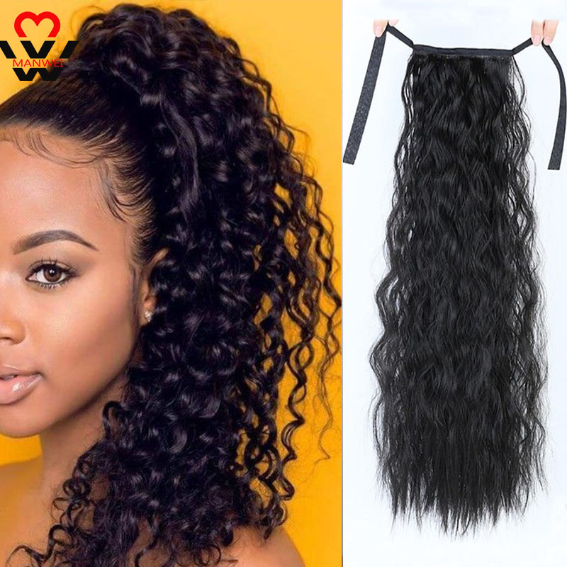 MANWEI Corn Wavy Long Ponytail Synthetic Hairpiece Wrap On Clip Hair Extensions Ombre Brown Pony Tail Blonde Fack Hair