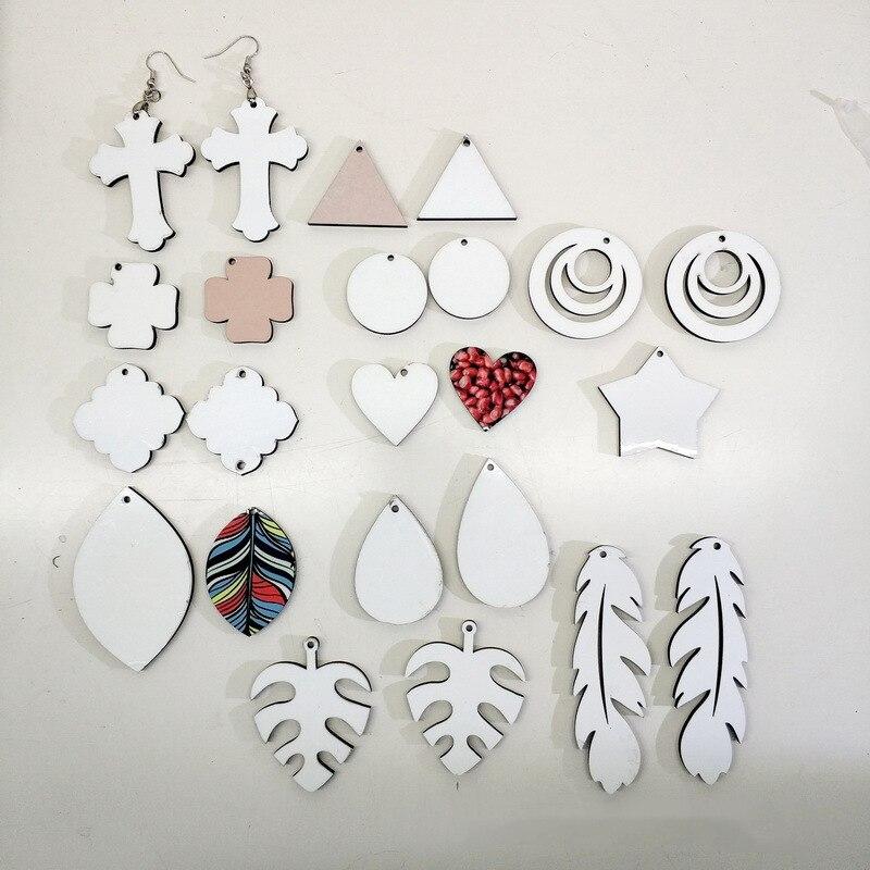Envío Gratis 20 par/lote sublimación mujeres MDF en blanco consumibles arete puede imprimir fotos personalizadas al por mayor diy nuevos regalos de estilo