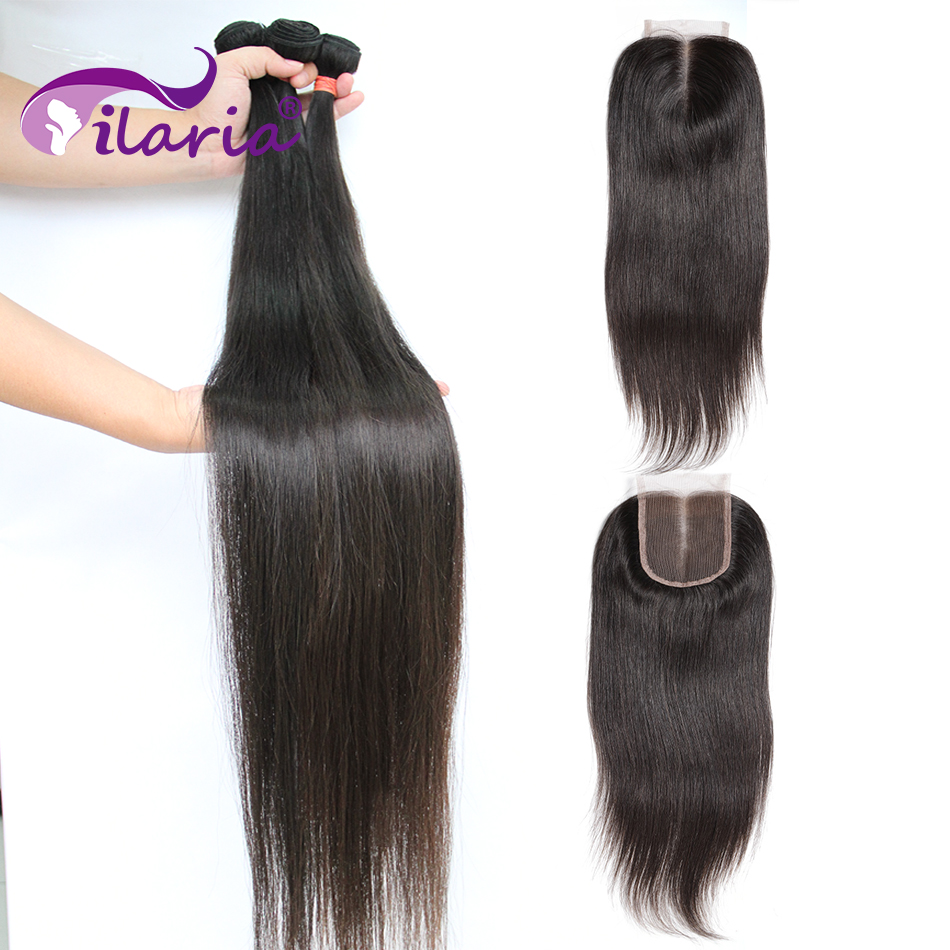 ILARIA Straight Human Hair Bundles With Closure 100% Remy Brazilian Hair Weave Bundles With Lace Closure Natural Color