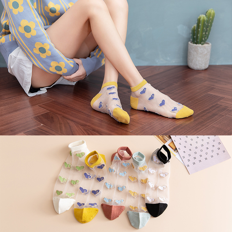 SP&CITY Gold Side Embroidery Heart Short Socks Colorful Love Glass Silk Woman Socks Trasparente Breathable Cotton Thin Sokken