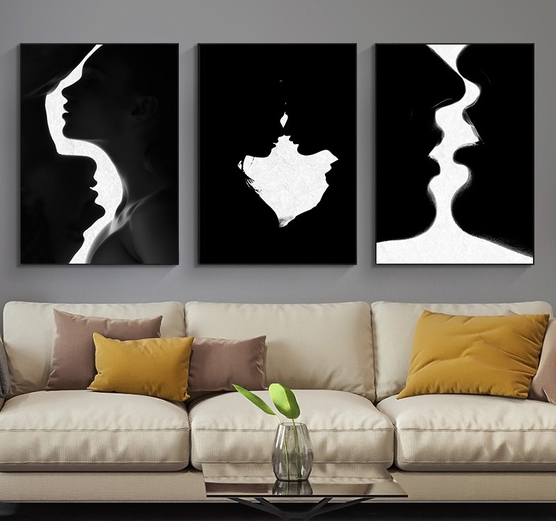 Модная привлекательная картина, черная и белая картина, женщина, влюбленная, холст, настенное искусство для дома, дизайнерские плакаты и при...