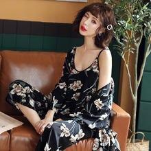 Kisbini набор женских халатов 3 шт летняя Ночная рубашка Топ