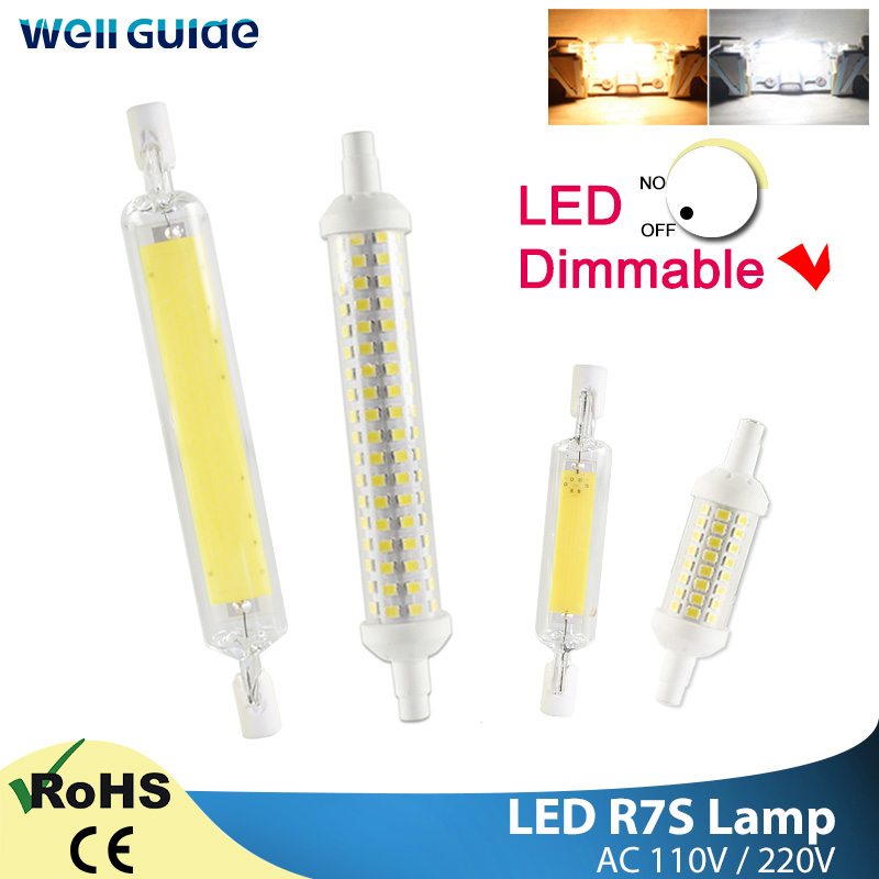 <font><b>R7S</b></font> <font><b>Led</b></font> Bulb COB Glass Spot Light <font><b>led</b></font> Lamp 78mm 6W 118mm 15W Replace Halogen AC 110V 220V 50W 100W Floodlight Spot Light lamp image