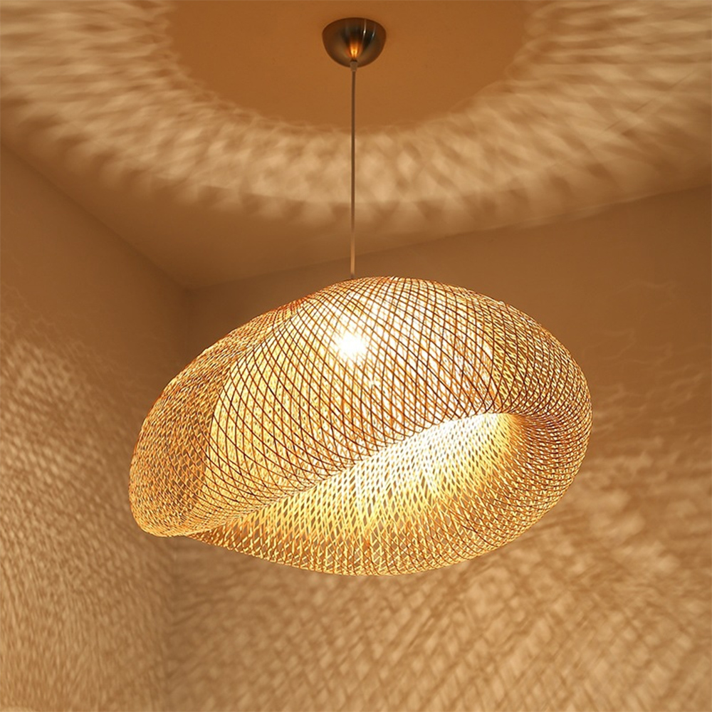 Bamboo LED E27 Wicker Rattan Wave Shade Pendant Light Vintage Japanese Lamp Suspension Home Indoor Dining Table Room Lighting
