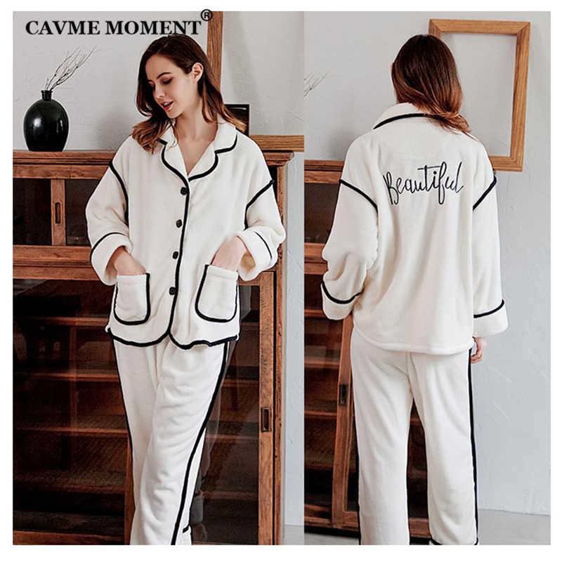 CAVME Winter Pyjama Sets Frauen Verdicken Flanell 2 Stück Damen Nachtwäsche Pyama Set Einfarbig Elegante Pluse Größe