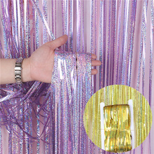 10pcs 1/2/3M Gold Pink Rainbow Sequin backdrop Foil Fringe Tinsel Curtain Birthday Party Rain wedding decoration Girl festival