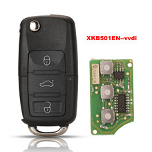 Jingyuqin xhorse xkb501en para V-W b5 tipo 3 botões com fio chave remota universal X001-01 para vvdi chave ferramenta