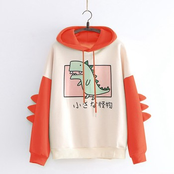 Women Casual Dinosaur Sweatshirt Hooded Splice