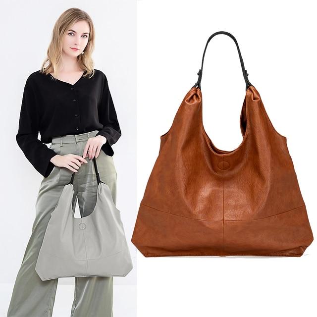 نساء حقائب يد جلدية لينة جلد الغنم سعة كبيرة حقائب اليد حقائب كتف الموضة