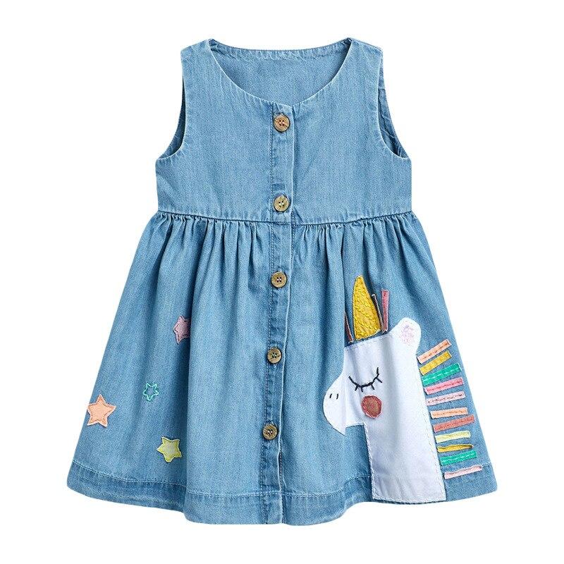 Little Maven 2021 Summer Baby Girl Clothes Children Unicorn Denim Color Sundress Pinafore Sleeveless Dress for Kids 2-7 Years 6
