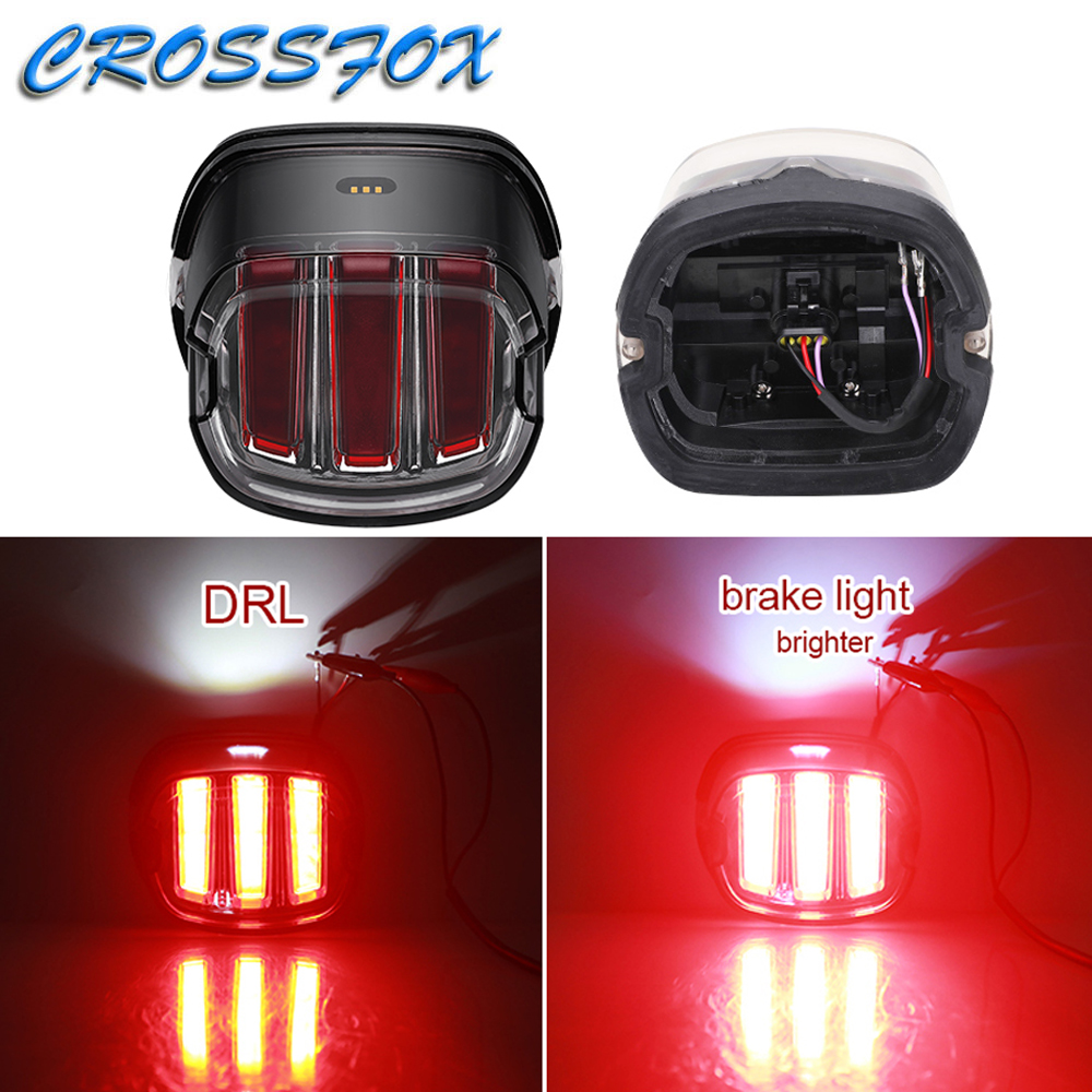 Rear DRL Lights Motorcycle Moto Brake Light Braking Indicator Signal Tail Lamps For Harley Touring Sportster XL883 Cafe Racer