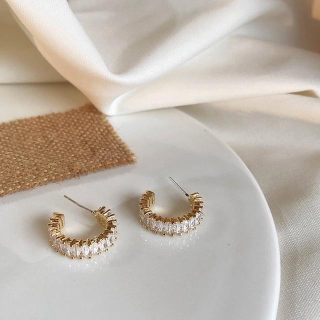MENGJIQIAO 2020 Korean Micro Pave Zircon Hoop Earrings For Women Elegant Circle Boucle D'oreille Oorbellen Sweet Jewelry 6