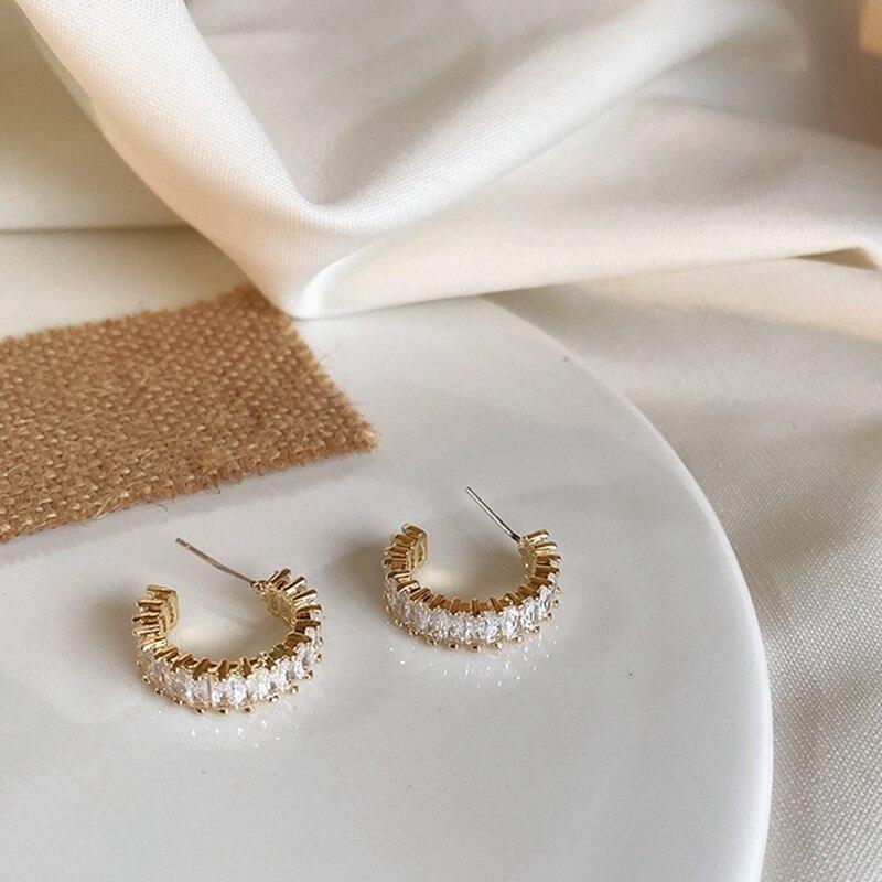 MENGJIQIAO 2020 Korean Micro Pave Zircon Hoop Earrings For Women Elegant Circle Boucle D'oreille Oorbellen Sweet Jewelry