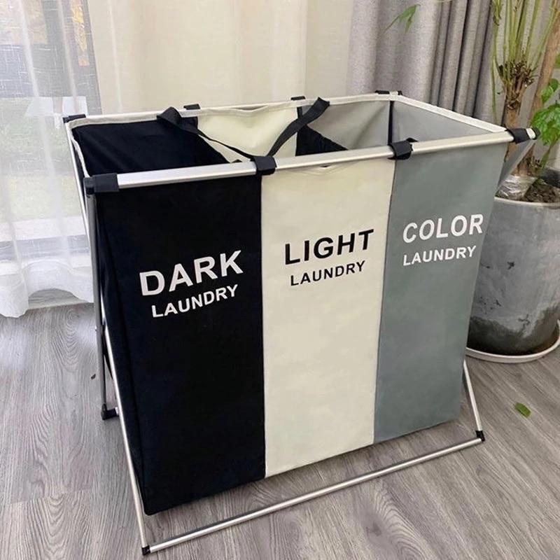 Складная корзина для белья с тремя отделениями, водонепроницаемая вместительная сумка для хранения грязной одежды из ткани Оксфорд