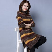 Red Green Yellow Sweater Striped Elegant Turtleneck Long Pullovers Female High Neck knitted dress Women Clothes Fashion Knitwear(China)