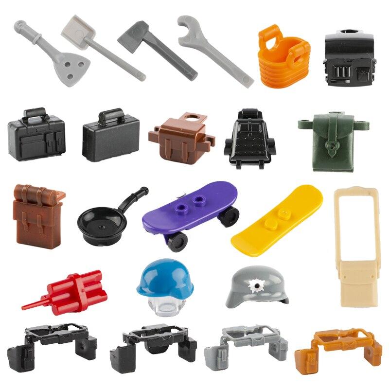 WW2 Military Weapon Building Blocks Bag Backpack Soldier Figure Helmet SWAT Belt City Friends Accessories Bricks Kid Toy