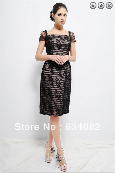 Free Shipping 2016 Womens Elegant Dress Plus Size Vestidos Formales Cap Sleeve Short Black Lace Mother Of The Bride Dresses