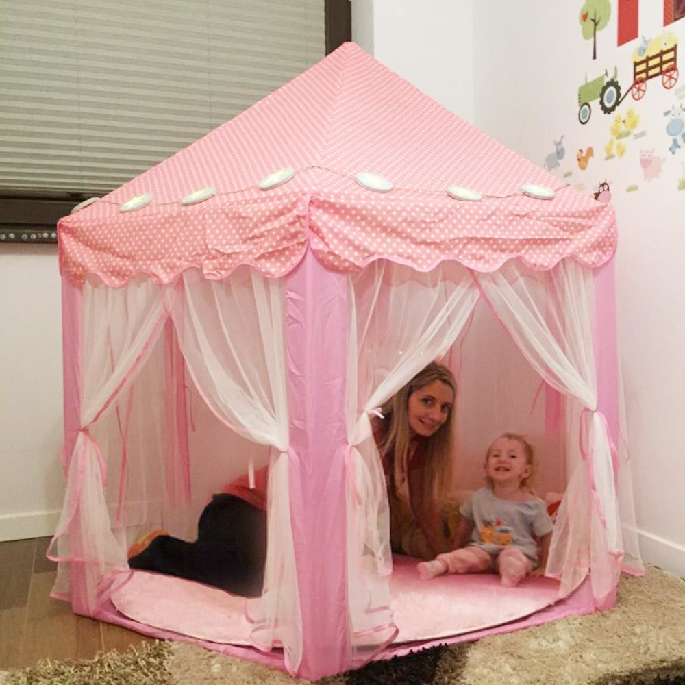 Children's Tent Portable Children Princess Pink Castle Toy Ball Pool Folding Play Tent Lodge Girls Playhouse Kids Small House
