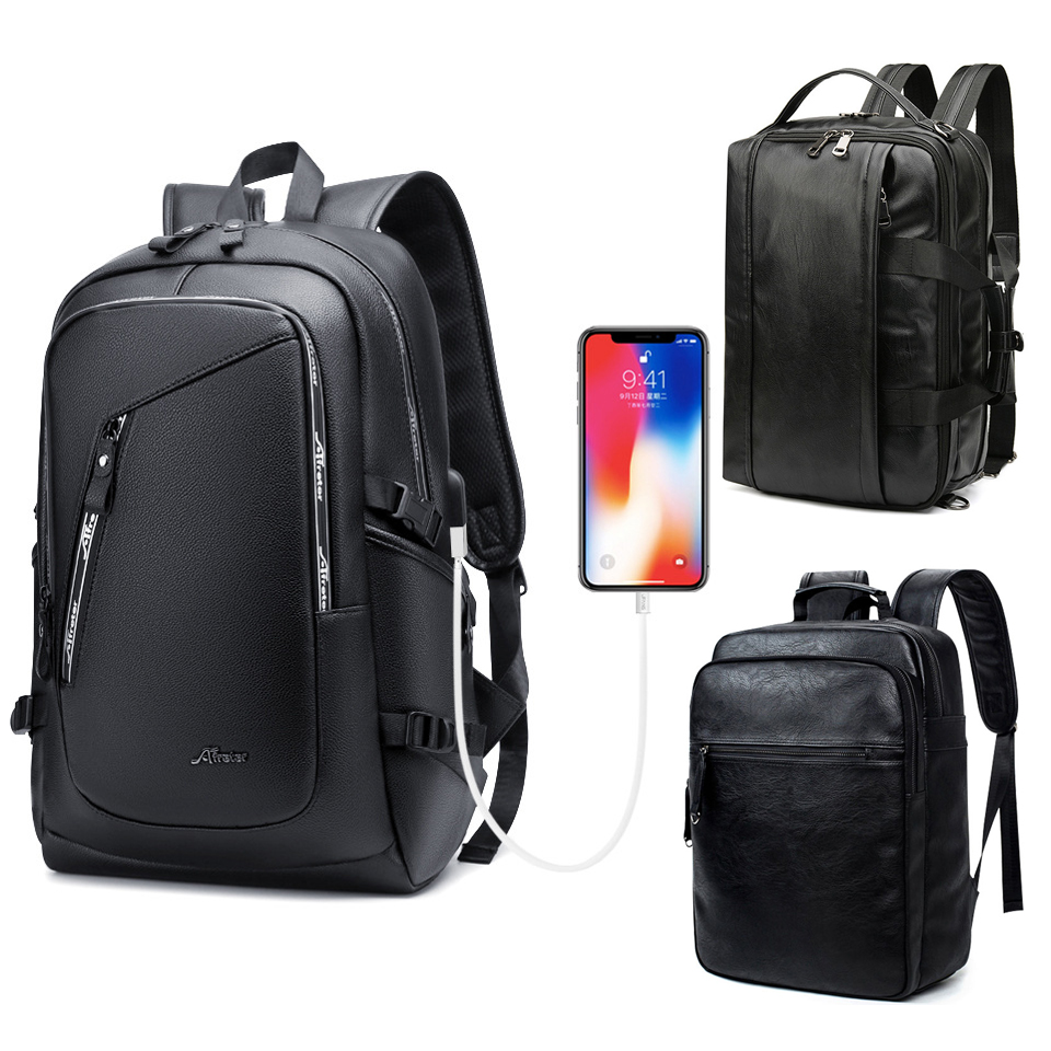 Leather Backpack PU Travel Men Laptop Back Pack 15.6 Inch Notebook Male Waterproof Bag School Student USB Charging Smart Bags