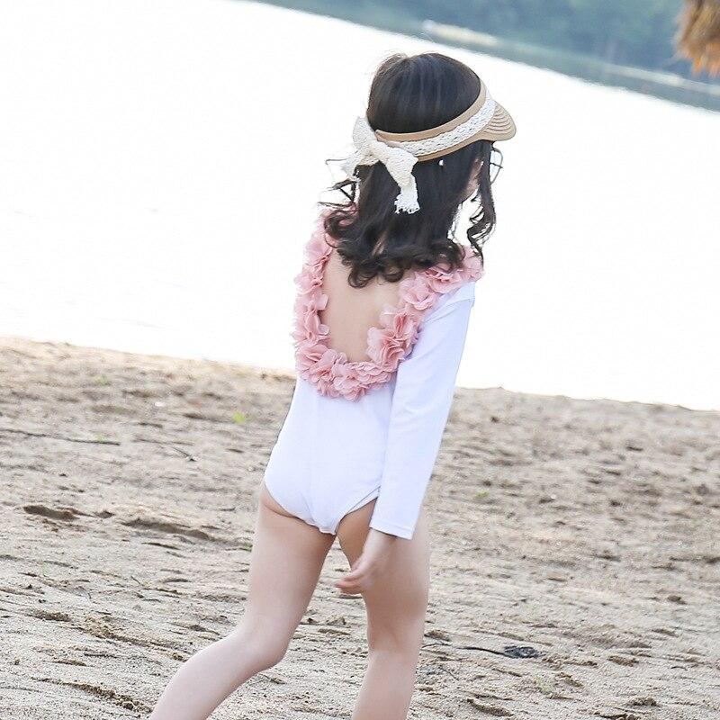 KID'S Swimwear GIRL'S One-piece Long Sleeve Sun-resistant Quick-Dry Girls Cute Tour Bathing Suit South Korea Little Princess INS