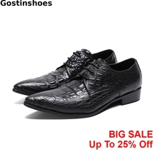 цены Classic Men Leather Shoes Black Crocodile Printed Genuine Leather Formal Derby Shoes Lace-up Pointed Toe Men Dress Shoes