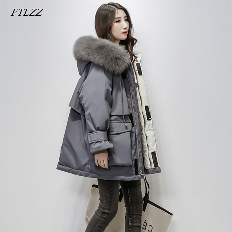 FTLZZ New Women Real Natural Fox Fur Hooded Down Coat Winter Jacket Female Thick Warm White Duck Down Loose Snow Parka