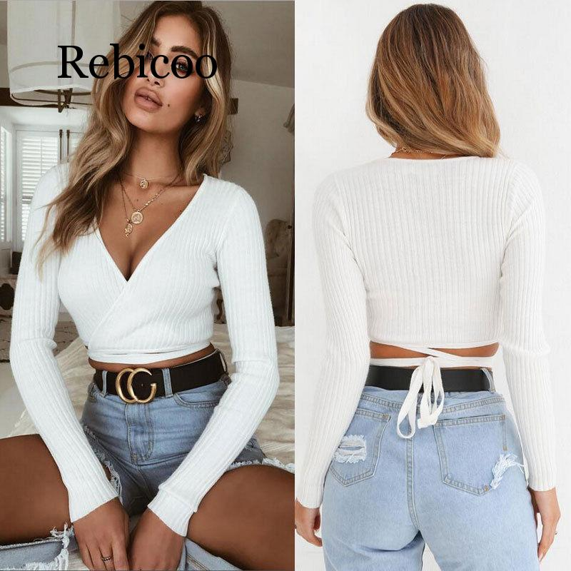 2019 autumn and winter women 39 s slim T shirt black white khaki long sleeved T shirt cross V neck sexy backless top in T Shirts from Women 39 s Clothing